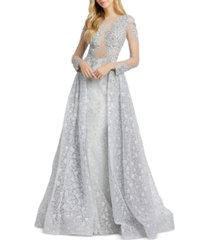 mac duggal lace & beaded gown