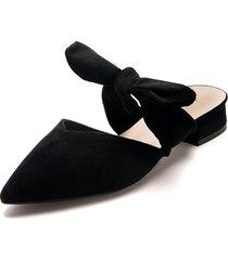 zapato tipo slipper de tacón bajo y ancho en negro - laila - frankie