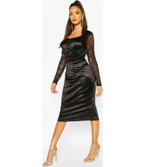 stretch satin cupped rouched midi dress, black