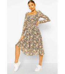 bloemenprint midi jurk met geplooide taille, black