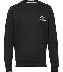 basic embroidered sweatshirt sweat-shirt trui zwart tommy hilfiger