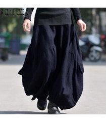zanzea sólido largo pierna ancha pantalones holgados holgados cargo pantalones mujer algodón lino cintura elástica alta linterna de moda pantalón azul marino -azul