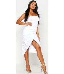 bandeau belted drape midi bodycon dress, white
