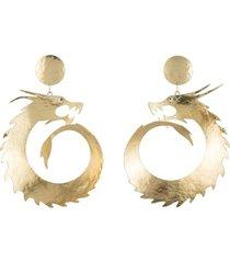 natori hammeredss dragon swirl drop clip earrings, women's