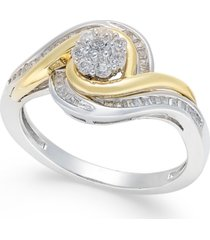 diamond cluster two-tone swirl ring (1/3 ct. t.w.) in sterling silver and 14k gold