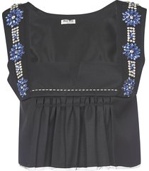 miu miu crystal embellished cropped top