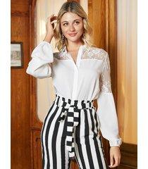 blusa de manga abullonada de retazos de malla de encaje yoins