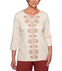 alfred dunner cedar canyon embroidered 3/4-sleeve top