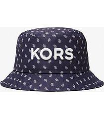 mk cappello a secchiello con logo e motivo paisley - drk midnight - michael kors