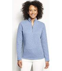 placed quilted quarter-zip sweatshirt, tempest blue, x large
