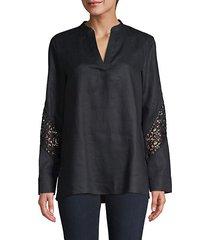 lace insert linen tunic