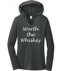 worth the whiskey cute country song music tee ladies hoodie tee
