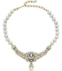 goldtone & crystal, multicolor rhinestones & glass beads necklace