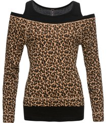 maglia in fantasia animalier 2 in 1 (marrone) - rainbow