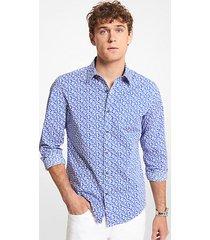 mk camicia slim-fit in cotone stretch con stampa foglie - blu marea (blu) - michael kors
