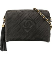chanel pre-owned 1994-1996 cc logos fringe chain shoulder bag - grey