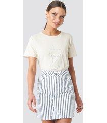 na-kd pin striped denim skirt - white
