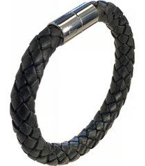 suki men's braided leather 8mm bracelet