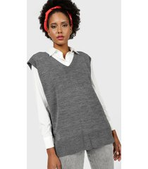 sweater missguided  v neck knitted vest gris - calce oversize