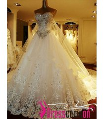 luxury ball gown sweetheart catherdral train white wedding dress,wedding gownwe9