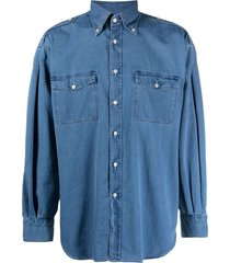 tom ford epaulette-detail denim shirt - blue