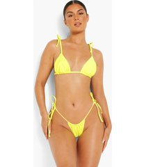 driehoekige bikini top met schouderstrikjes, yellow