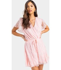 bettie lace godet romper - rose