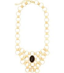 maxi colar semijoia banho de ouro 18k quartzo negro ao centro