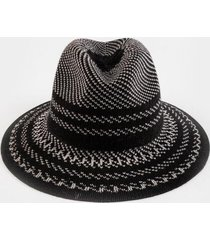 nancy stripe fedora hat - black