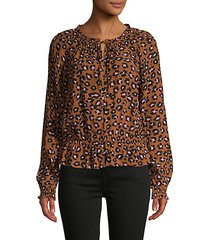 leopard-printed flounce blouse