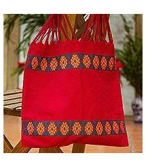 cotton shoulder bag, 'breath of life' (mexico)
