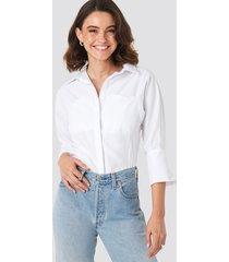 na-kd classic pocket detail shirt - white