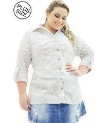 camisa tricoline plus size confidencial extra listrada bege