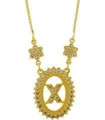 colar horus import letra x zircônia banhado ouro 18k feminino