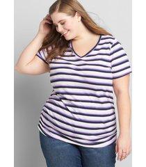 lane bryant women's v-neck ruched side tee 38/40 multi-horizontal stripe