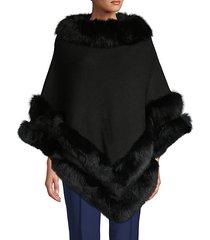 fox fur-trim wool-blend poncho