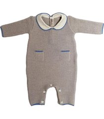 rice stitch wool jumpsuit with collar and pockets