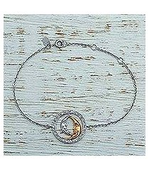 gold accent rhodium plated sterling silver pendant bracelet, 'twin crescents smile' (mexico)