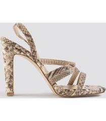 trendyol snake pattern high heels - beige