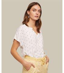 blusa manga corta estampada con cuello neru y escote v