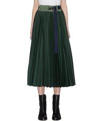 paneled pleated wrap around skirt