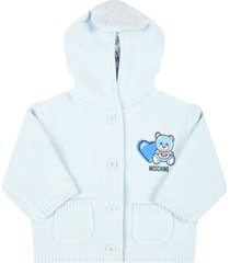 moschino light blue cardigan for babyboy with teddy bear