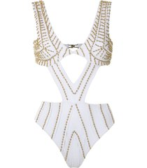 amir slama embroidered cut out swimsuit - white