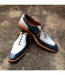 handmade men oxford two ton formal shoes, men black and white dress shoes