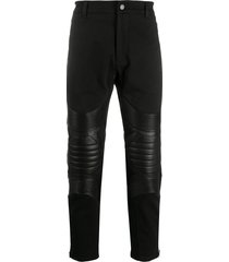 les hommes padded panel trousers - black