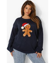 plus gebreide kerst trui, navy