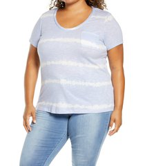 plus size women's caslon rounded v-neck tee, size 4x - blue
