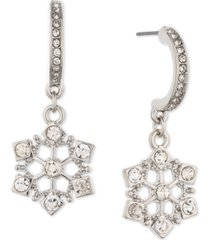 holiday lane silver-tone pave snowflake charm j-hoop earrings, created for macy's