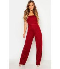 petite strapless wide leg jumpsuit, berry
