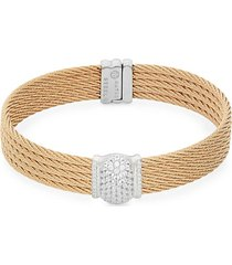 stainless steel, 18k white gold & diamond 5-row cable bracelet